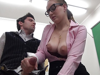 Beautiful babes jerking off their boyfriend's cock, lusty ladies stroking big dicks and giving handjobs.