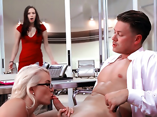 Sexy secretaries and female office workers servicing their hung bosses and hung colleagues.