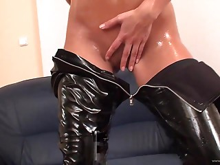 Oiled-up and lubed-up girls show off their glistering bodies and get their oily holes destroyed on cam.